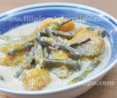 Ginataang Sitaw at Kalabasa | 1/2 squash(kalabasa),  1 bundle string beans,  1/ 4 kilo pork diced or 1 cup shrimp meat 3 tbsp fish sauce or 1 tbsp shrimp paste 1 can coconut milk 3 cloves garlic, minced 1 small onion, chopped 2 pieces green chili