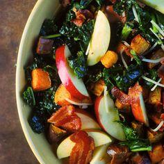 Mustardy Kale Salad with Bacon & Sweet Potatoes - Fitnessmagazine.com