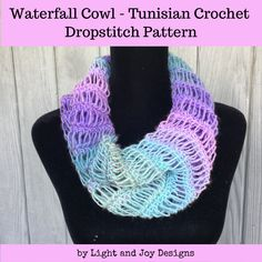 Waterfall Cowl – Dropstitch Tunisian Crochet Pattern – Light and Joy Designs Crochet Mittens, Crochet Gifts, Crochet Scarves, Crochet Shawl, Quick Crochet, Chunky Crochet, Diy Crochet, Tunisian Crochet Patterns, Popular Crochet