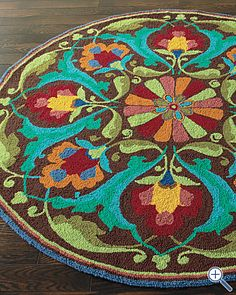 color scheme and style Garnet Hill - Porcelain Garden Hooked Wool Rug by Company C Tapete Floral, Floral Rug, Deco Boheme, Decoration Inspiration, Color Inspiration, Round Rugs, Rug Hooking, Home Interior Design, Wool Rug