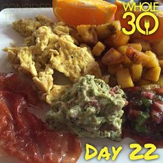 """""""This is exactly why I needed after a good workout: scrambled eggs, sweet plantain bites, my homemade salsa and guac, crispy prosciutto, and orange slices. Day 22 off to a great start! Ps: my salsa and guac recipe is up on my blog, search in the recipe finder :) #whole30 #whole100 #CTLTwhole100 #whole30homies #2015IGwhole30 #eatrealfood #cleaneating #jerf #healthy #mealideas #paleo #recipe #blog #considertheleafTURNED #day22 #salsa #guacamole #sweetplantains"""" Photo taken by…"""