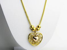 Gold Heart Necklace Heart Necklace Long Gold Necklace Long  This beautifully made heart necklace is stylish and flexible.  This necklace is made with gold plated mesh chain, gold plated heart pendant, swarovski crystal and extendable clap.