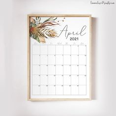 Printable Wall Calendar 2021 Watercolor Calendar 2021 | Etsy Feather Wall Art, Wall Calendars, Copy Print, Christian Wall Art, Boho Designs, Floral Wall, African Art, Printing Services, Boho Decor