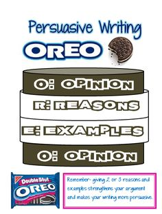 Our Cool School: Persuasive Writing: OREO Graphic Organizer.Opening activity: What is the best way to eat an Oreo. Includes a handout for students to use for organizing their thoughts. Great idea that the kids will love Opinion Writing, Persuasive Writing, Teaching Writing, Essay Writing, Argumentative Writing, Opinion Paragraph, Teaching Ideas, Conclusion Paragraph, Teaching Strategies
