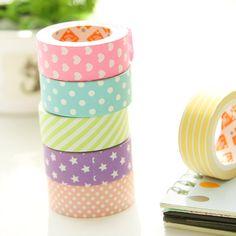6 pcs Paper Pastel Washi Tape //Price: $9.95 & FREE Shipping //   #lovehippiecat #paper #scrapbooking #craft #papercrafts