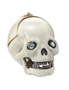yellow gold and enamel skull form watch - 19th century