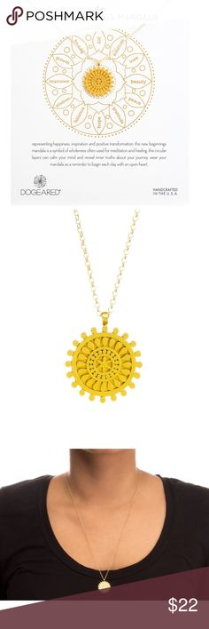 """New the new beginnings mandala, gold 22"""" gold dipped fine chain  3/4"""" gold dipped center star mandala pendant  gold dipped spring ring closure  the new beginnings mandala message card Dogeared Jewelry Necklaces"""