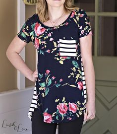 92f295c6ac6d9 Navy Floral   Stripe Tee with Pocket