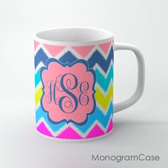 Monogrammed coffee cup in modern ikat chevron design in mixed colorsDesign your own coffee cup with us!We can print it in every pattern or color.When you ready to purchase? Please provide the following information in the notes section when you check out: 1: Name , letter or monogram in order of Fir