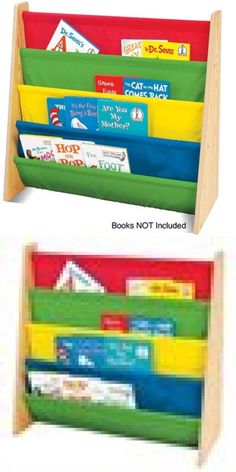 bookcases 115749 kids book sling storage rack bookcase holder organizer natural primary colors - Tot Tutors Book Rack Primary Colors
