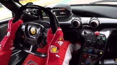 Vettel gets behind the wheel of a Ferrari FXXK