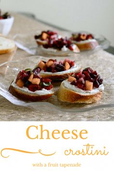 Cheese crostini with a fruit tapenade. A quick, sophisticated appetizer #30DaysofDairy #contest