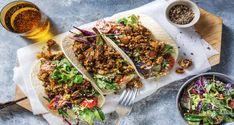 Savoury Mushroom Tacos Recipe   HelloFresh Breaded Mushrooms, Stuffed Mushrooms, Stuffed Peppers, Kale Slaw, Mushroom Tacos, Hello Fresh Recipes, Spicy, Tortillas
