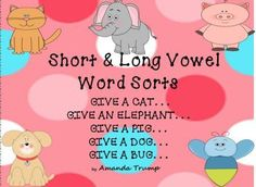 This packet is a hands-on FUN approach to learning and practicing short/long vowel sounds! Students will be engaged in a FUN way as they learn the sound differences between all five of the short/long vowel sounds.  If the students wish, they can enjoy coloring their own animal mats to use for the games. Then students will draw a card with either a short vowel sound or a long vowel sound on the card, read the word, listen to the vowel sound, and then decide on which animal mat the card…
