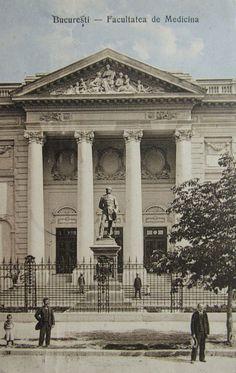 statuia lui Carol Davila din fata palatului facultatii de medicina bucuresti cca 1909 Bucharest, Romania, Louvre, Country, Architecture, Building, Travel, Life, Medicine