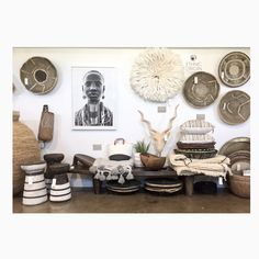 Soulful!!! <3 Lozi stools, Buhera baskets, mudcloth pillows, vintage Makenge baskets, pom pom blankets from Morocco! <3 <3 <3