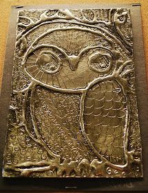 Make It... a Wonderful Life: Owls, Foil, Glue, and Shoe Polish ^^ The owl was done by a 5th grader.