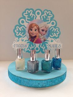 Disney Frozen Nail Polish Centerpiece Disney by CreatedToParty - A Girl activity for a Frozen party! Elsa Birthday, Frozen Themed Birthday Party, 6th Birthday Parties, Frozen Party Games, 4th Birthday, Frozen Party Activities, Birthday Ideas, Olaf Party, Birthday Cake