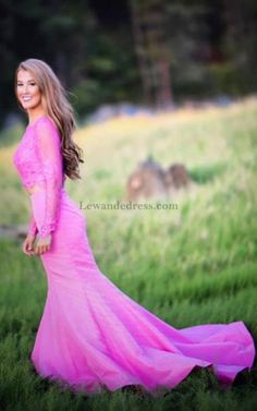 Long Sleeves Beaded Lace Two Piece Prom Gown Mermaid Pink 50491 Prom Dresses  2018 6aa391ca8481