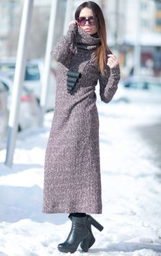 Womens Knitted Dress with Hat Long Dress Loose Dress