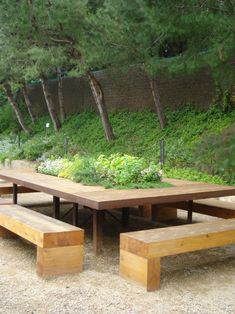 "Table and benches for Patio / Replace Plants with Open box storage with ""lids"" / Orig Post: Make the most of your space with a built in herb garden on the table! Outdoor Seating, Outdoor Rooms, Outdoor Tables, Outdoor Gardens, Outdoor Living, Picnic Tables, Garden Seating, Patio Pergola, Backyard"