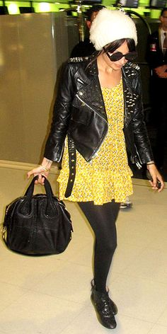 Nicole Richie in leather and Givenchy