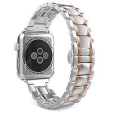 77404aa71 MoKo Band for Apple Watch Series 3 Bands, Stainless Steel Metal Replacement  Smart Watch Strap Bracelet for iWatch 2017 Series 3 / 2 / 1 - Silver and  Gold ...