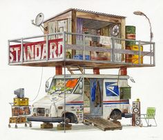 Watercolor Paintings of Imagined Trash Structures Packed With Advertising by Alvaro Naddeo Watercolor Illustration, Watercolor Paintings, Oil Paintings, Structure Paint, Illustrator, Post Apocalyptic Art, Colossal Art, Old Magazines, Environment Concept