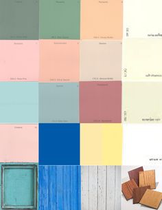 mostly whites but some greens tans pinks and pale yellow with a few accents of cobalt white weathered wood only