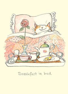 Dark Silence In Suburbia, breakfast, bed, cat, chat, petit déjeuner, bedroom