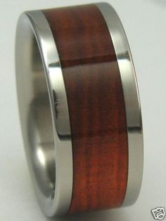 Titanium Wood Ring Custom Red Heart WOOD Band Mens by usajewelry