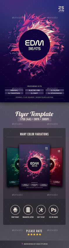 EDM Beats Flyer — Photoshop PSD #print #futuristic • Available here → https://graphicriver.net/item/edm-beats-flyer/19223286?ref=pxcr
