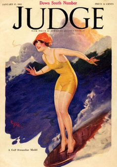 Judge Magazine Cover 1923 Hawaii Surf Girl Surfing Usa Vintage Poster Repro