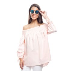Salmon Pink Emery Off the Shoulder Top
