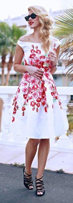 Retro off Shoulder Flaoral Midi Dress, Black Strappy Sandals | Fashion Painted Dreams                                                                             Source