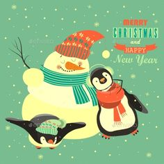 Penguins with Snowman Celebrating Christmas