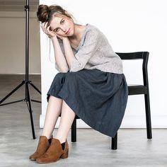 Linen skirt with deep pockets / A - line washed linen skirt in charcoal / Midi linen skirt / High waist linen skirt