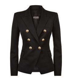 Balmain Embossed Button Blazer Black | Harrods