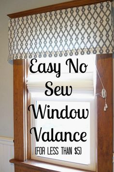 Diy Valance Curtains - Easy Diy No Sew Window Valance Diy Curtains Kitchen Window 20 Very Cheap And Easy Diy Window Valance Ideas You Would Love 5 Brilliant Diy Window Valan. No Sew Valance, No Sew Curtains, Valance Curtains, Box Valance, Pelmet Box, Scarf Valance, Drapery, Bathroom Window Treatments, Valance Window Treatments