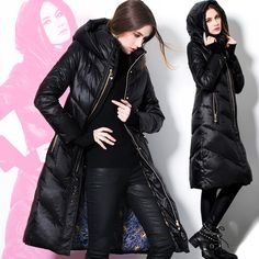 Women's Duck down coat long thicken down coats Parka clothing outerwear