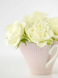 White rose's in a tea cup