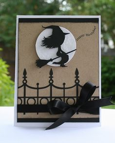 Happy Stamping Designs: Happy Witches Fence and witch are silhouette designs Halloween Paper Crafts, Halloween Projects, Halloween Cards, Halloween Themes, Halloween Fun, Scrapbooking, Scrapbook Cards, Fall Cards, Holiday Cards