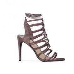 Abbygail Stileto Heels in Grey Faux Suede