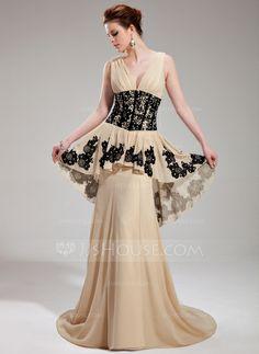 Evening Dresses - $152.99 - A-Line/Princess V-neck Sweep Train Chiffon Evening Dress With Ruffle Lace Beading Sequins (017019759) http://jjshouse.com/A-Line-Princess-V-Neck-Sweep-Train-Chiffon-Evening-Dress-With-Ruffle-Lace-Beading-Sequins-017019759-g19759?ver=1