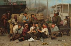 """John George Brown, """"The Longshoremen's Noon,"""" 1879, oil on canvas, National Gallery of Art, Washington, Corcoran Collection (Museum Purchase, Gallery Fund)"""