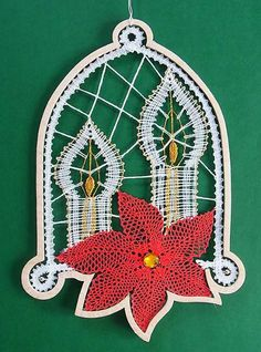Types Of Lace, Lace Heart, Lace Jewelry, Bobbin Lace, Lace Detail, Christmas Ornaments, Holiday Decor, Crochet, Law