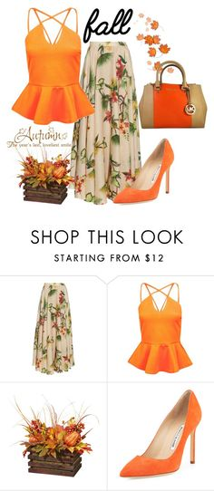 """Fall Floral"" by sindhuja-coolgirl ❤ liked on Polyvore featuring Isolda, Boohoo, Manolo Blahnik and MICHAEL Michael Kors"