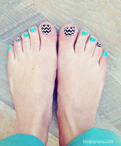 fun turquoise, black, white, chevron stripe toes - pedicure - hair-sublime.com