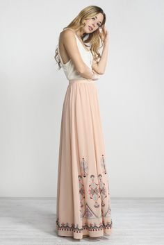 Beautiful Peach Chiffon Maxi Skirt with Embroidery Detail.