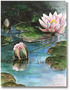 Watercolor Painting of Water Lilies julia shwartz Acrylic Painting Lessons, Oil Painting Abstract, Acrylic Art, Watercolor Paintings, Lilies Drawing, Lily Painting, Abstract Drawings, Claude Monet, Watercolor Flowers